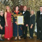 At the Ukrainian Technological Society's 47th annual dinner-dance (from left) are: Eugene Szestak, Mary Anne Szestak, Halyna Mykhailiv-Ciarallo, honoree Natalie A. Jaresko, George Honchar, Bonnie Reinhart, Nickolas C. Kotow and Judith Moses.