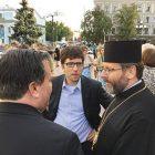Member of Parliament Garnett Genuis (center) with Ukrainian Catholic Patriarch Sviatoslav and Alberta United Conservative Leader Jason Kenney during a visit to Ukraine in August 2016.