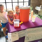 Marko Skoratko, Zoryana Popadynec and Kalyna Konrad at their lemonade stand fund-raiser for a new swing at Soyuzivka.