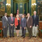 In the Pennsylvania Senate Chambers (from left) are: State Sens. Art Haywood and Bob Mensch, Ulana Mazurkevich, Michael Sawkiw Jr., Eugene Luciw and State Sen. Stewart Greenleaf.