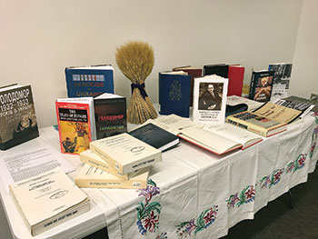 The book exhibit about the Holodomor at the Henry Madden Library at Fresno State.