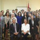 CUPP alumni and 2017 interns meet Canada's Ambassador to Ukraine Roman Waschuk in Kyiv on September 12, 2017, to celebrate Canada's 150th anniversary.