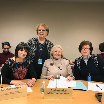 During the 61st session of the Commission on the Status of Women, held on March 13-24 at the United Nations, seen at the Regional Women's Peace Dialogue Platform event are: World Federation of Ukrainian Women's Organizations President Orysia Sushko (standing) with (seated from left) Ukraine's Deputy Minister of Social Policy Natalia Fedorovych, Ambassador Melanne Verveer of the U.S. and Kateryna Levchenko of LaStrada-Ukraine.