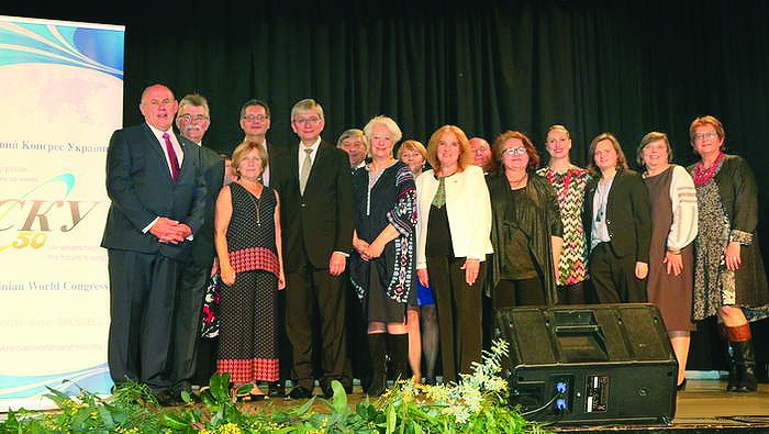 The president of the Ukrainian World Congress with Australian Federation of Ukrainian Organizations President Stefan Romaniw (left) and members of the AFUO at a banquet in Melbourne marking the UWC's 50th anniversary. Eugene Czolij was in Australia on August 1-13, visiting seven cities where Ukrainian communities are active.