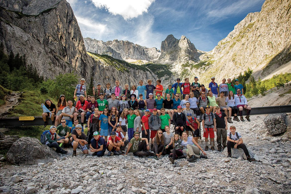A group of Plast scouts on a hike during the international jamboree of Plast Ukrainian Scouting Organization held on August 12-19 in Germany. The country's highest peak, Zugspitze (2,962 meters), is seen in the background.