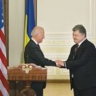U.S. Vice-President Joe Biden and Ukrainian President Petro Poroshenko during their joint press availability in Kyiv on January 16. It was the vice-president's sixth visit to Ukraine and his fifth since the Euro-Maidan Revolution.