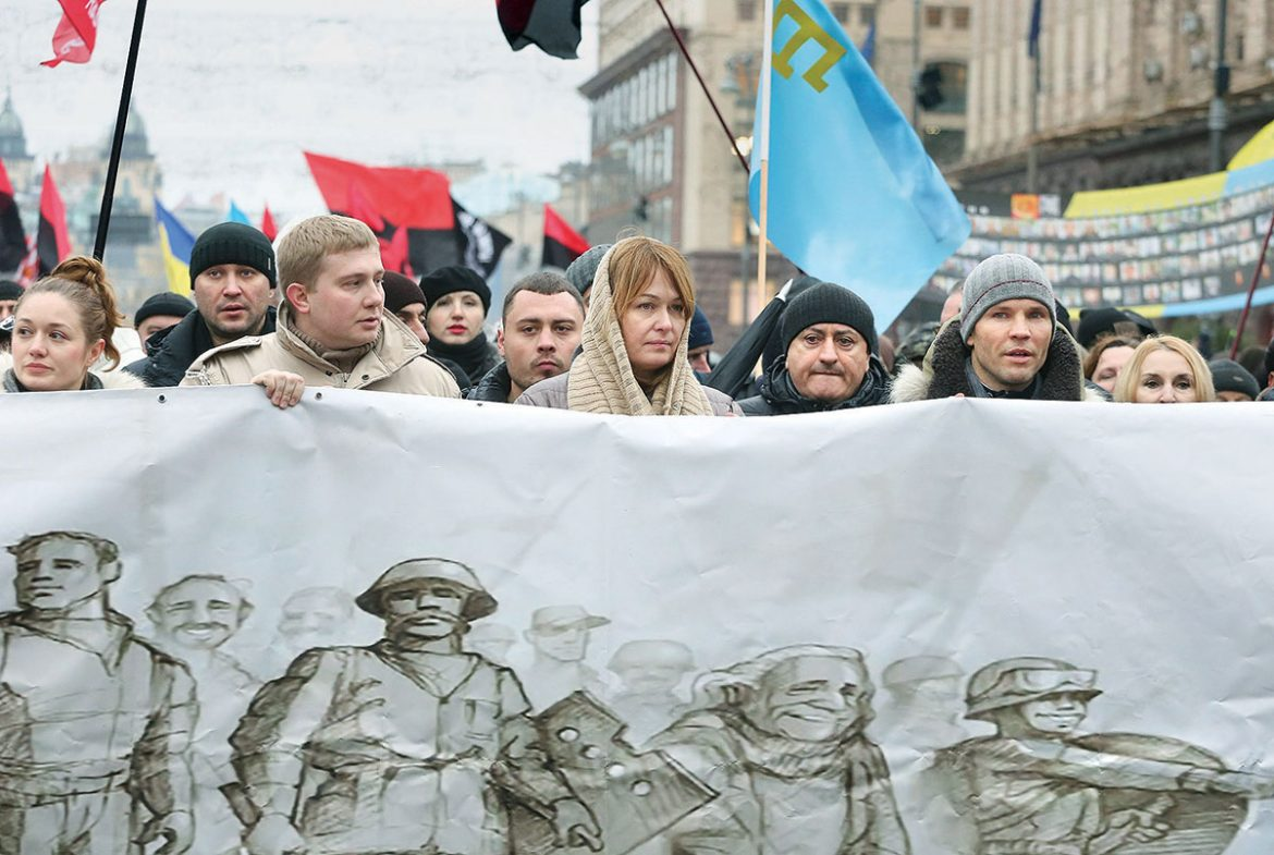 A scene from the anti-government demonstration in Kyiv on December 9 – the largest since the Euro-Maidan – that called on the Poroshenko administration to speed up anti-graft efforts.