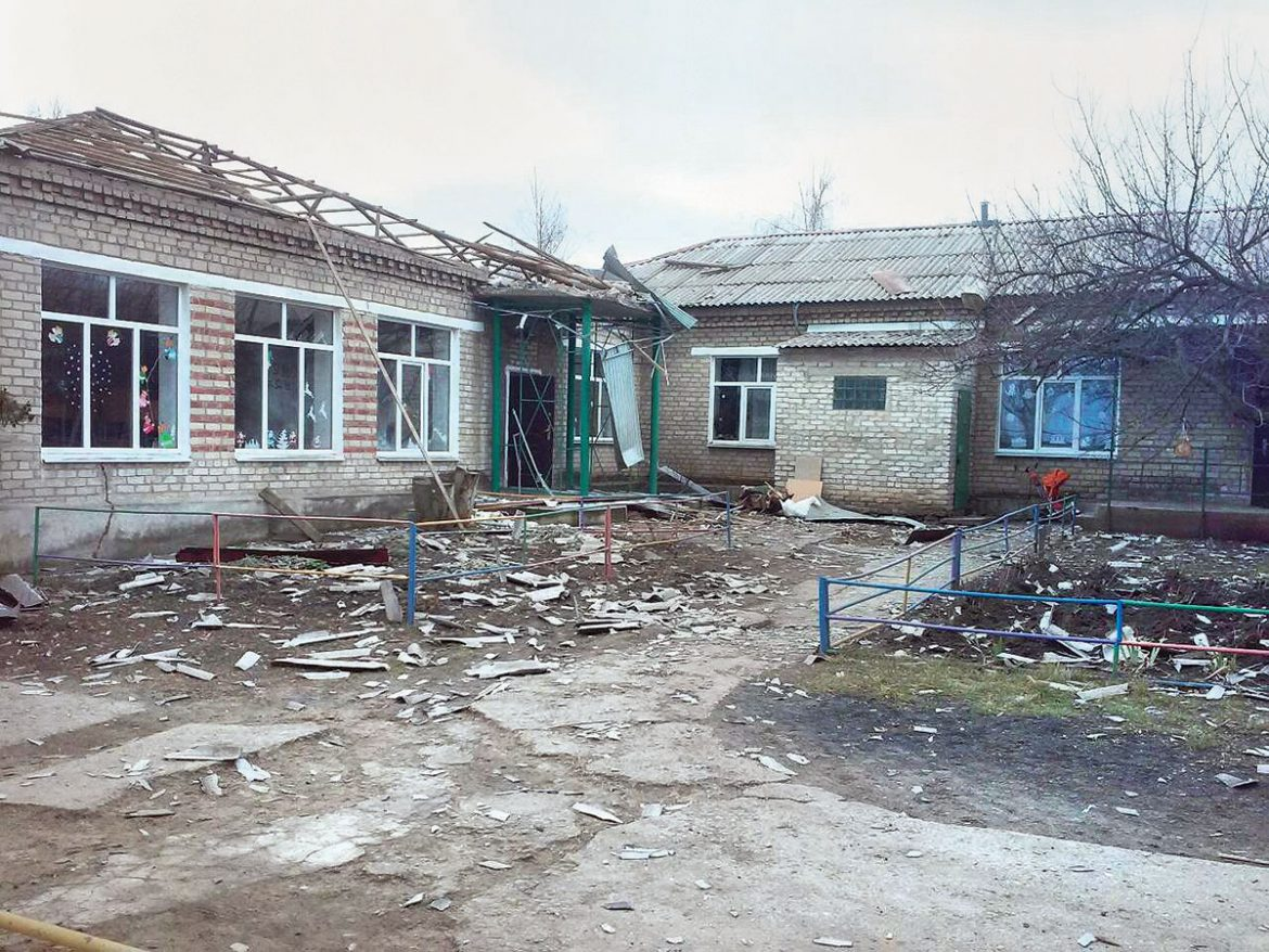 Russian shelling from occupied Horlivka damaged a kindergarten in Novoluhanske in Donetsk Oblast on December 18, a day before St. Nicholas Day.