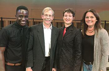 At Wesleyan University (from left) are: graduate teaching assistant and assistant conductor Simbarashe Kamuriwo, composer Alexander Kuzma, music director and conductor Nadya Potemkina and Prof. Katja Kolcio.