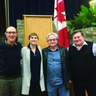 """At the Edmonton screening of """"Recovery Room"""" (from left) are:  Alann Nazarevich, the film's director Adriana Luhovy, Nestor Makuch and Ilia Simcisin of the Ukrainian Canadian Professional and Business Association."""