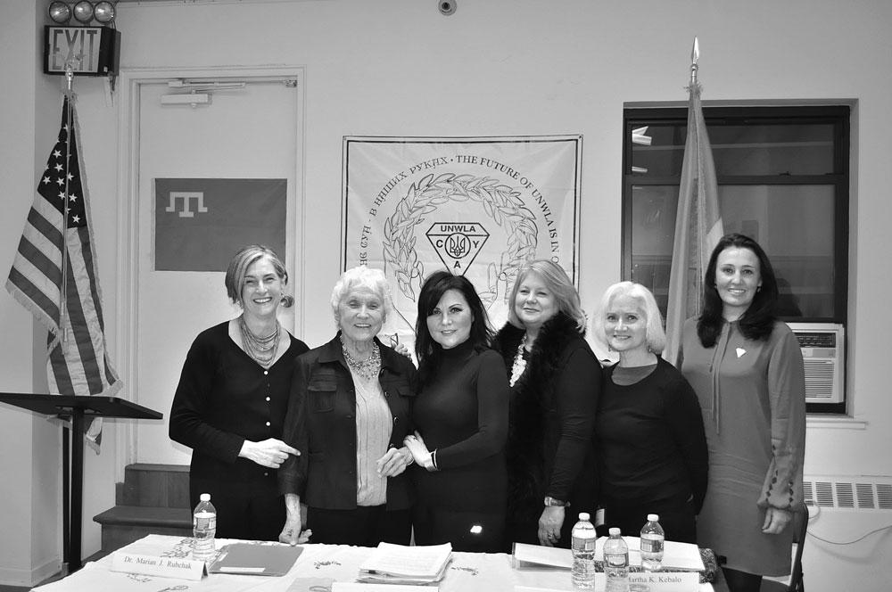 "At the conference on ""The Ukraine Conflict and Wartime Gender Violence"" (from left) are: program organizer Dr. Marta Kichorowska Kebalo; speakers Prof. Mar'iana Rubchak, Ayla Bakkalli and Roksolana Misilo; and event organizers Marta Burachok and Mariya Andriyovych."