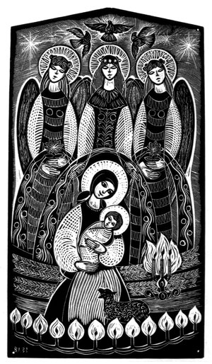 """""""Three Angels"""" (1983) by Vitaliy Lytvyn of Toronto. From a Christmas card published by the Ukrainian National Association."""