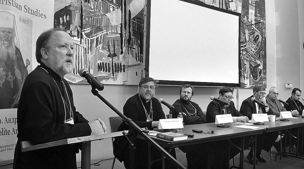 """Participants in the conference, """"Religion in the Ukrainian Public Square"""" (from left): the Rev. Prof. Peter Galadza, organizer and moderator; the Rev. Prof. Andriy Chirovsky, Sheptytsky Institute; the Rev. Dr. Cyril Hovorun, Yale University; Dr. Igor Shchupak, director of the Tkuma Ukrainian Institute for Holocaust Studies in Dnipropetrovsk; George Weigel; Prof. Victor Ostapchuk, University of Toronto; the Rev. Dr. Roman Zaviyskyy, Ukrainian Catholic University."""