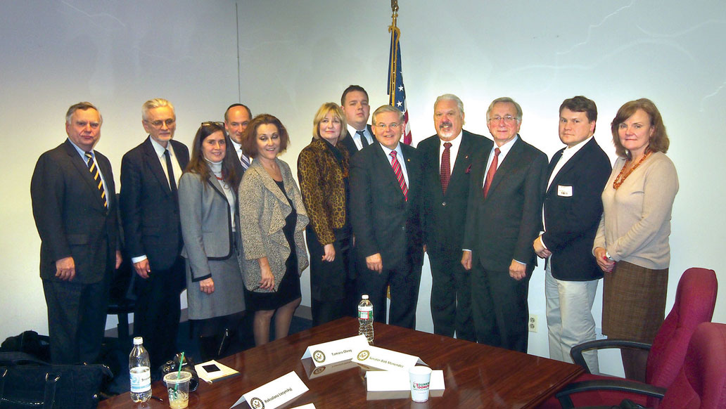 Ukrainian American community representatives with Sen. Robert Menendez (fifth from right) after a roundtable discussion on current developments in Ukraine at his office in Newark, N.J. The January 2 meeting was organized by the Ukrainian National Association.