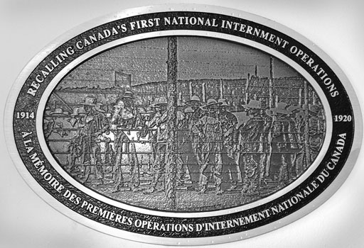 The plaque marking the centennial of the First National Internment Operations of 1914 features a scene in bas-relief from an internment camp. To mark the anniversary, 100 such plaques were unveiled nationwide on August 22.