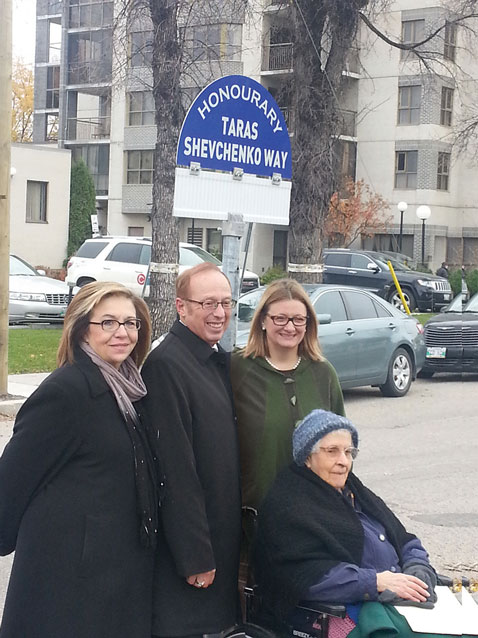 Winnipeg designated a one-block stretch of Aberdeen Avenue, between Main Street and the Red River, to be named in honor of Taras Shevchenko; the designation will be in effect for 200 years. Above, Mayor Sam Katz is seen with Ukrainian Canadian activists at the October 17 naming ceremony.