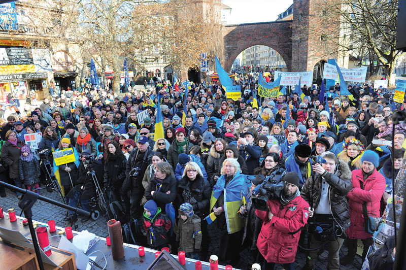 Some 500 Ukrainians from various cities in Germany gather in support of Ukraine's Maidan movement at Sendlinger Tor (Gate) in downtown Munich on February 1, as the Munich Security Conference was taking place.