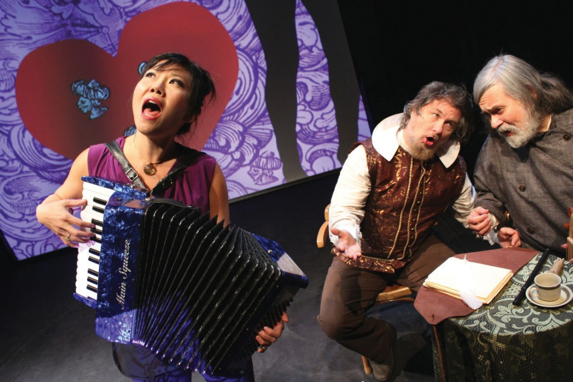 """Susan Hwang, Bob Holman and Julian Kytasty perform in """"Capt. John Smith Goes to Ukraine,"""" whose North American premiere was on November 27 at La MaMa ETC."""