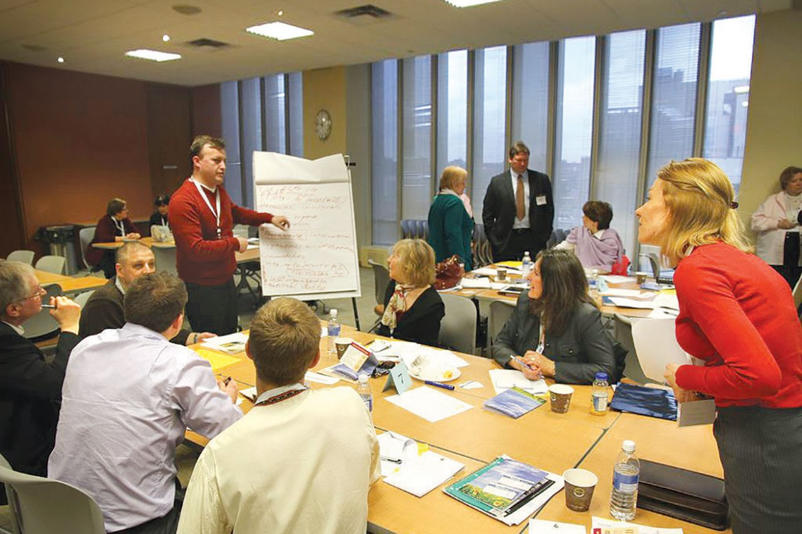 """One of the lively break-out sessions during the """"Stronger Communities"""" workshop organized in Toronto on April 13 by the Ukrainian Canadian Congress and the Ukrainian Catholic Education Foundation."""