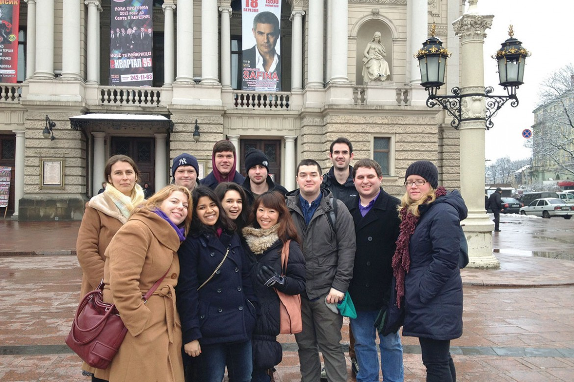 Fordham University students, in Lviv to visit the Ukrainian Catholic University, pose in front of the city's opera house during their visit to the Ukrainian city on March 10-17.