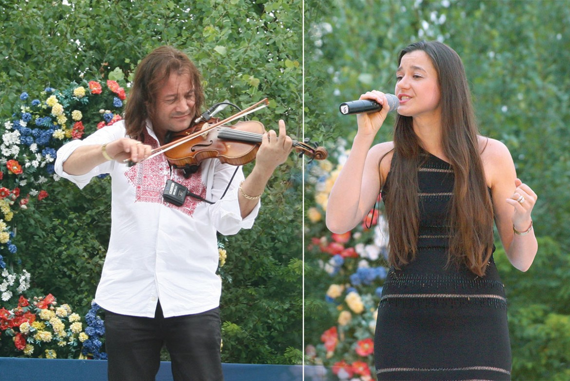 Violinist Vasyl Popadiuk and singer-songwriter Vika (Vasilevich) perform during the seventh annual Ukrainian Cultural Festival that was held at Soyuzivka on July 12-14.