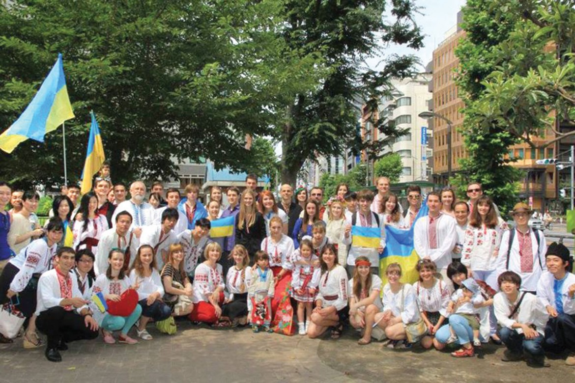 """Participants of the first Tokyo """"Vyshyvanka"""" Parade, co-sponsored by St. Jude Mission in June 2013."""