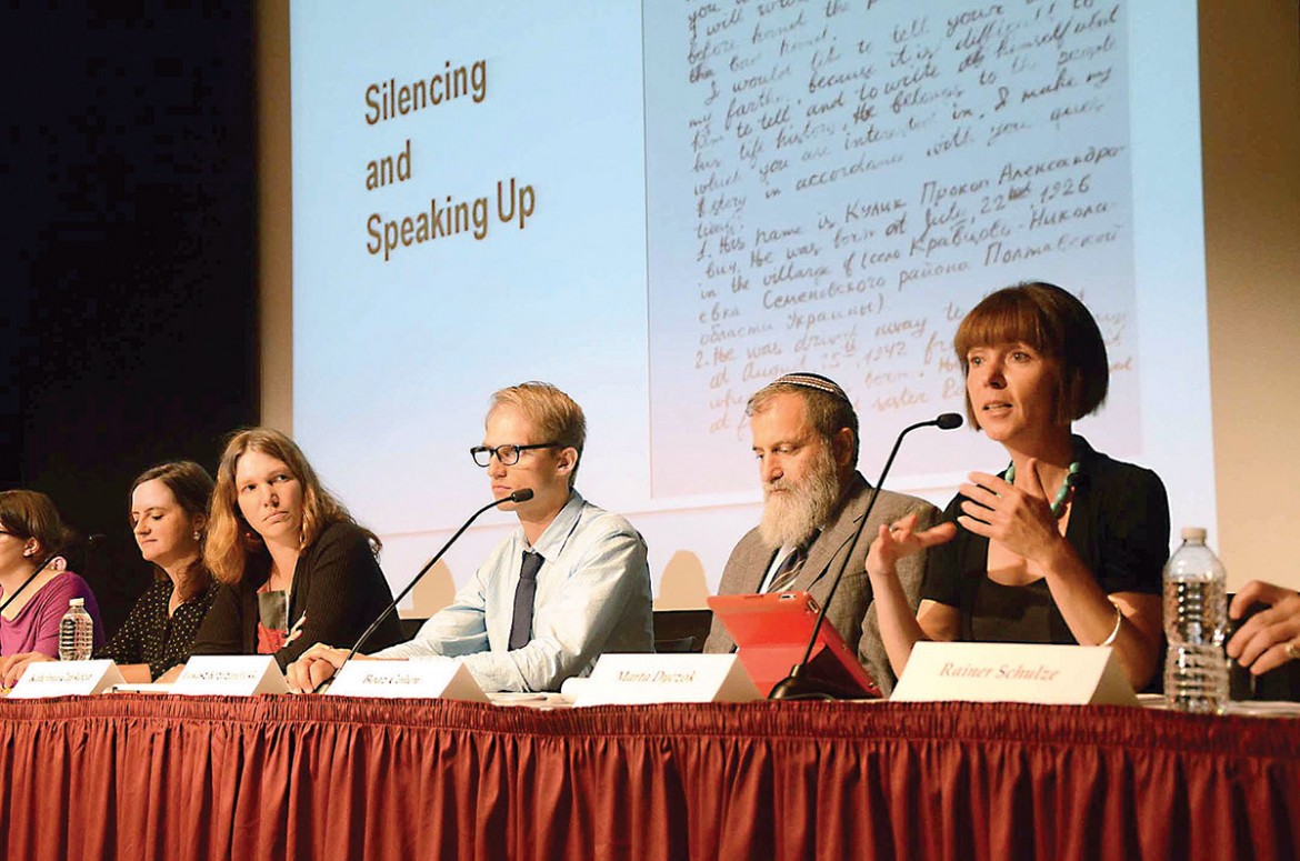 Prof. Marta Dyczok (right) speaks on August 23 at the U.S. Holocaust Memorial Museum about the plight of Ukrainian forced laborers repatriated to the Soviet Union after World War II.