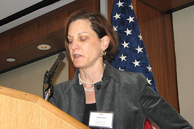"""Author/columnist Anne Applebaum speak at the conference """"Taking Measure of the Holodomor,"""" which was held in New York on November 5-6."""