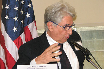 """Dr. Andrea Graziosi of the University of Naples speak at the conference """"Taking Measure of the Holodomor,"""" which was held in New York on November 5-6."""