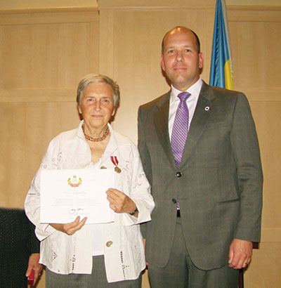 The Weekly's Toronto correspondent, Oksana Zakydalsky, was honored on with the Queen Elizabeth II Diamond Jubilee Medal, which was bestowed by the Canadian government and presented on September 26 by Ukrainian Canadian Congress President Paul Grod.