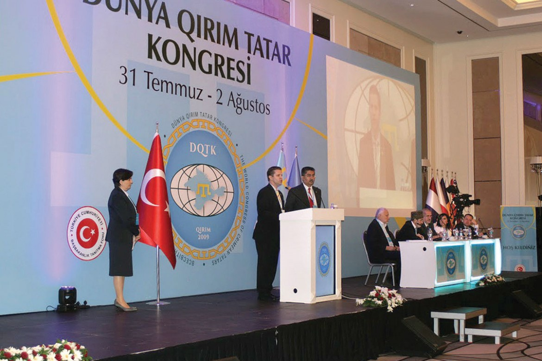 Andrij Dobriansky, representing the Ukrainian Congress Committee of America, addresses the World Congress of Crimean Tatars.