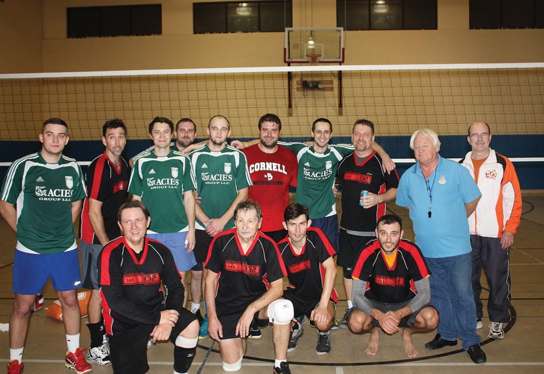 2015 USCAK Invitational Volleyball finalist Passaic (in green), Toronto (in black/red) with USCAK tournament organizers Myron Bytz (USCAK president) and Walter Syzonenko.