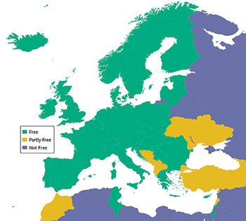 A section of the map of world freedom showing freedom ratings for countries in Europe.