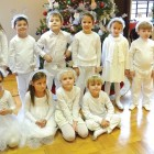 """NEW YORK – Saturday, December 19, marked the feast day of St. Nicholas according to the Julian calendar, and the New York Branch of Plast Ukrainian Scouting Organization celebrated """"Sviato Mykolaya"""" with a children's play organized by head counselors Dianna Shmerykowsky and Ostap Gladun, and directed by Ivan Makar. """"Ptashata,"""" the youngest, 5-year old members of Plast, """"novatstvo"""" (cub scouts age 6-11) and """"yunatstvo"""" (scouts age 11-18) participated in an enchanting story about a young girl who had to decide between good and evil. The first scene began with the sprinkling of snowflakes, and the Ptashata danced a short dance choreographed by counselor Chrystia Gorski-Makar. Seen above are """"Ptashata"""" who played the roles of snowflakes in the play """"Eve of St. Nicholas"""": (front row, from left) Sofiya Mato, Marta Rak, Zoryana Popadynew, Nicolas Mychalczak, (back row) Karina Decherytsia, Lev Ferencevych, Taras Rusynyak, Martin Pedragosa, Alexa Chwyl and Boyan Makar. (Anna Hlum is missing from the photo.)"""