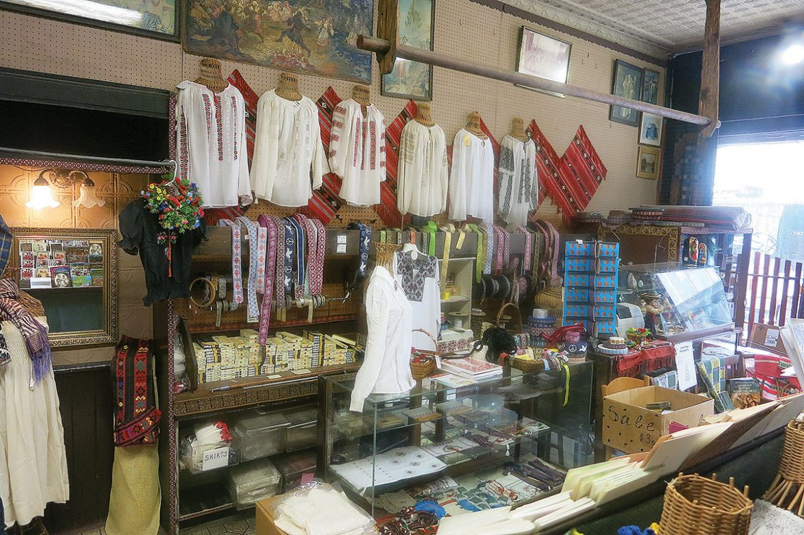 Ukrainian embroidered shirts and sewing materials.