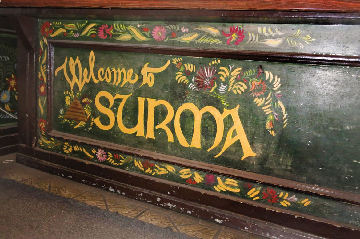In front of the counter and register, this artwork by Jaroslawa Surmach-Mills welcomes customers to Surma.