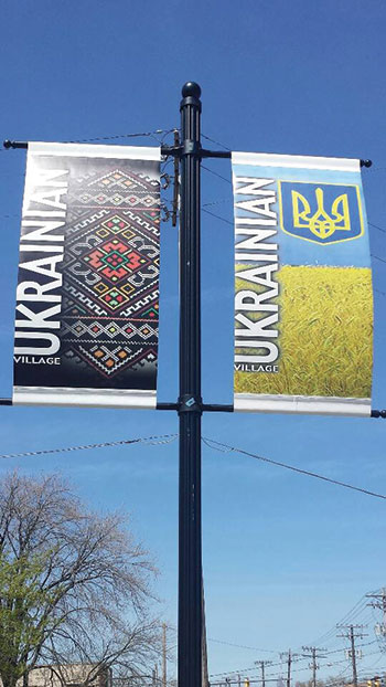 New banners – conceptualized by the Ukrainian Village Committee with Zoriana Zobniw, working with creative director Roman Chabursky, who designed the banners – grace State Road.
