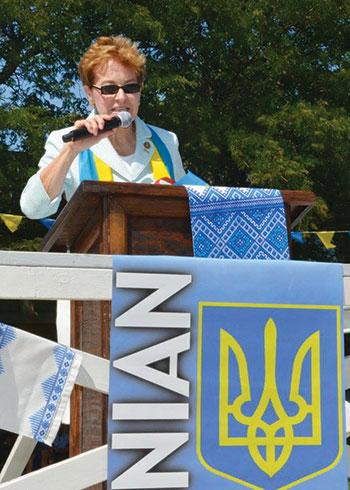 Ohio Congresswoman Marcy Kaptur addresses the celebratory gathering.