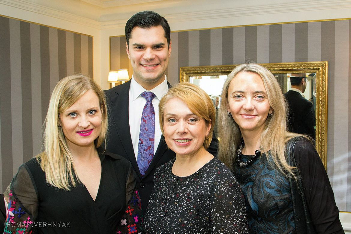 At the New York  event (from left) are: Friends of UCU committee member and event co-chair Anya Shpook Nikitin, Petro Nikitin, Ukraine's Minister of Education and Science Liliya Hrynevych and UCU Vice Rector for Development and Communications Natalia Klymovska.