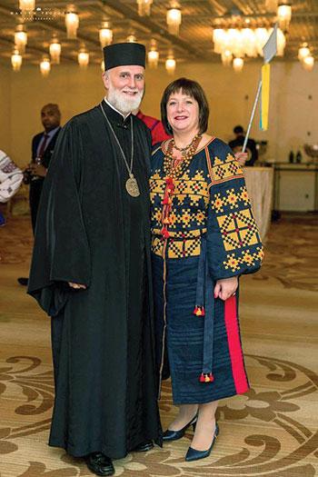 Bishop Borys Gudziak, president of the Ukrainian Catholic University, and Natalie Jaresko, former minister of finance of Ukraine, at the Chicago event.