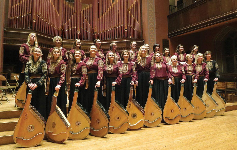 The Women's Bandura Ensemble of North America at its concert at Wesleyan University.
