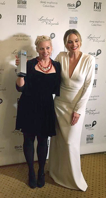 """Filmmaker Roxy Toporowych on November 28 at the 26th annual Gotham Independent Film Awards with actress Margot Robbie. Ms. Toporowych won the Calvin Klein Spotlight on Women Filmmakers """"Live the Dream"""" grant."""