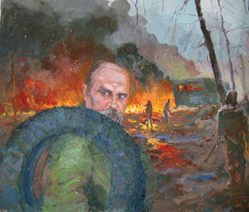 """The multimedia exhibit """"Ukraine Exists,"""" which was on view at the United Nations on January 8-20, opened on January 31 at the Ukrainian American Cultural Center of New Jersey (UACCNJ). Seen above is a detail from """"Hryhorovych,"""" a painting by Yura Shapoval."""