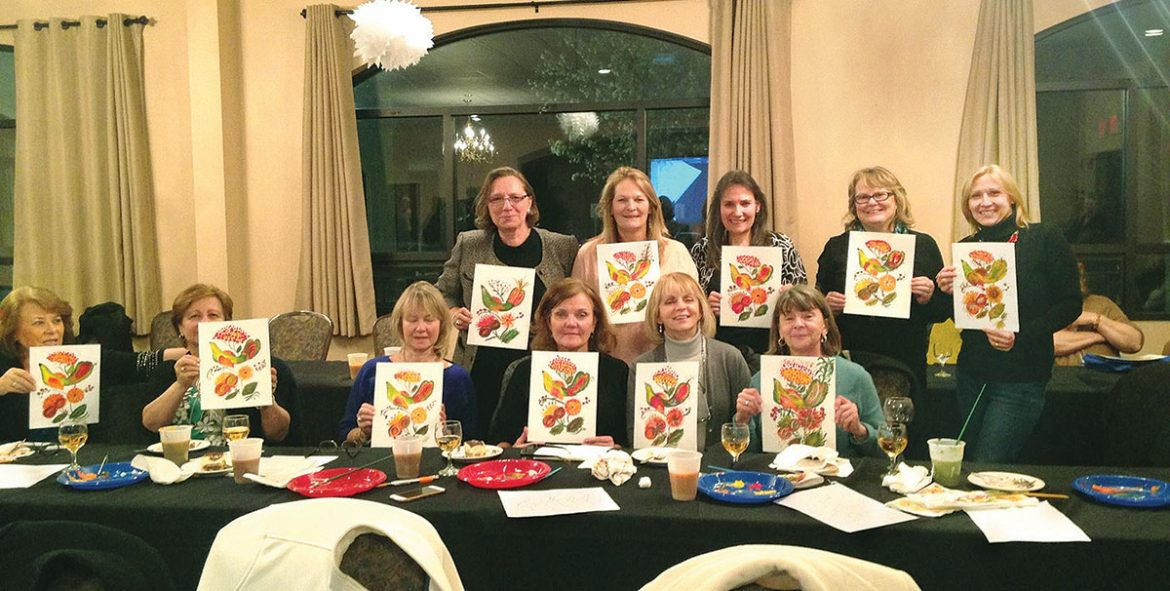 Participants of the Petrykivka Workshop sponsored by the UNA on April 8 at the Ukrainian American Cultural Center of New Jersey in Whippany show off their artwork.