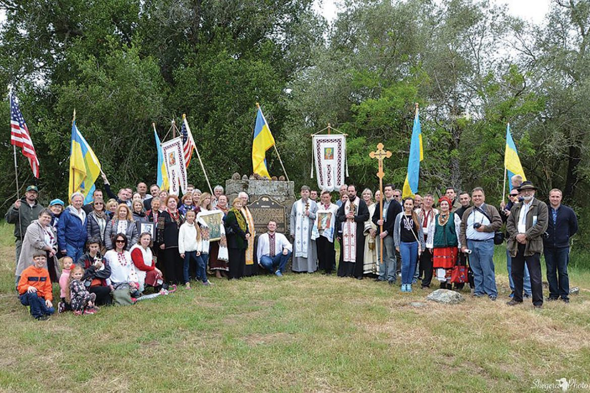 Ukrainian Americans at the Ukraina Monument, California State Landmark No. 1025, in Garin Regional Park in Hayward, Calif., on May 21 to commemorate the 100th anniversary of the death of the Rev. Agapius Honcharenko.