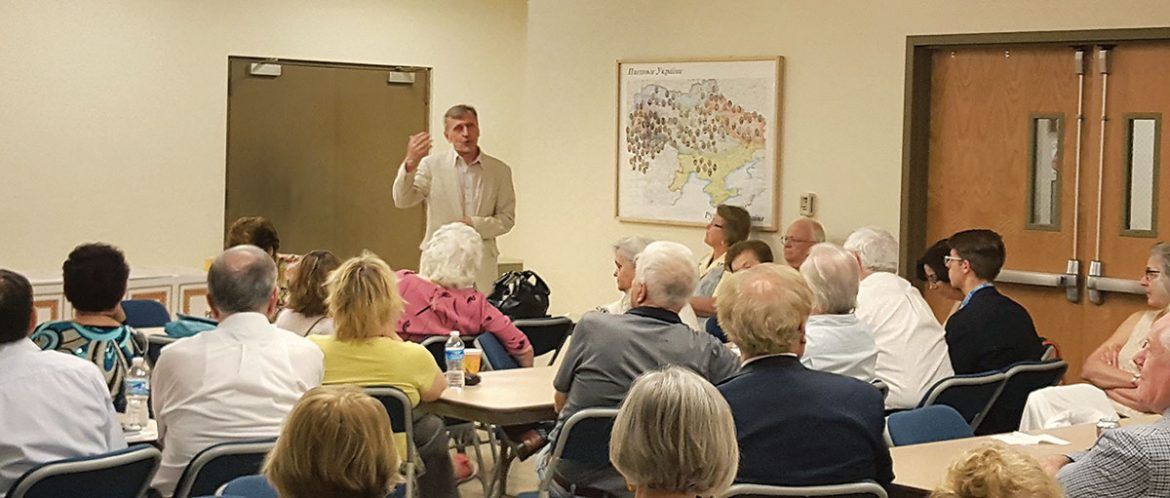 """""""What is Left of 'Two Ukraines'? New Divisions and New Connections in Ukrainian Society, 2014-2016"""" was the title of a lecture by Mykola Riabchuk at the Ukrainian Catholic National Shrine of the Holy Family on June 12. The event was sponsored by the Washington chapter of the Shevchenko Scientific Society."""