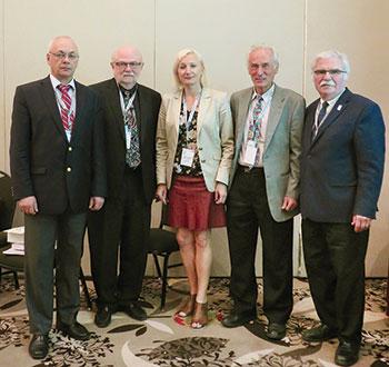 Presenters who spoke on October 1 about the 40th anniversary of the Canadian Institute of Ukrainian Studies at the XXV triennial Congress of Ukrainian Canadians were (from left): Volodymyr Kravchenko, Jars Balan, Alla Nedashkivska, Bohdan Klid and Roman Yereniuk.