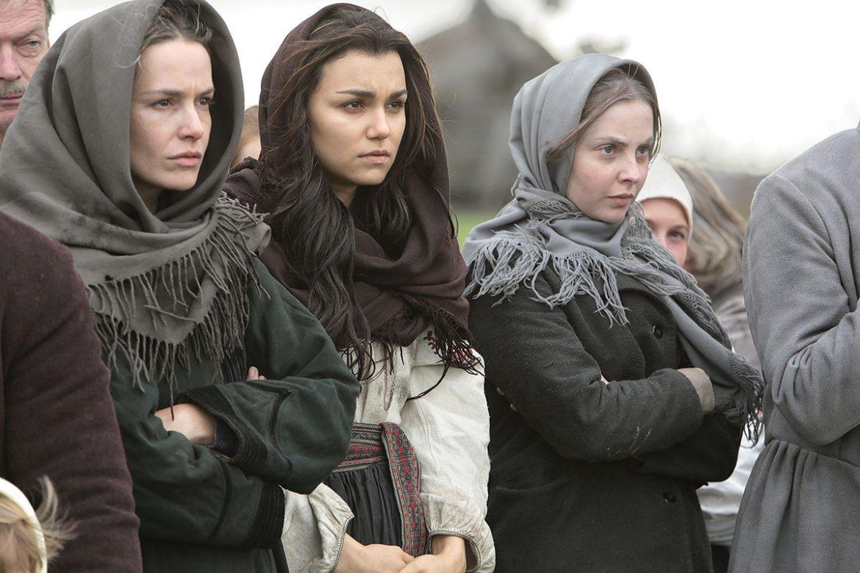 "Valeria Hodos, Samantha Barks and Lucy Brown in ""Bitter Harvest."""