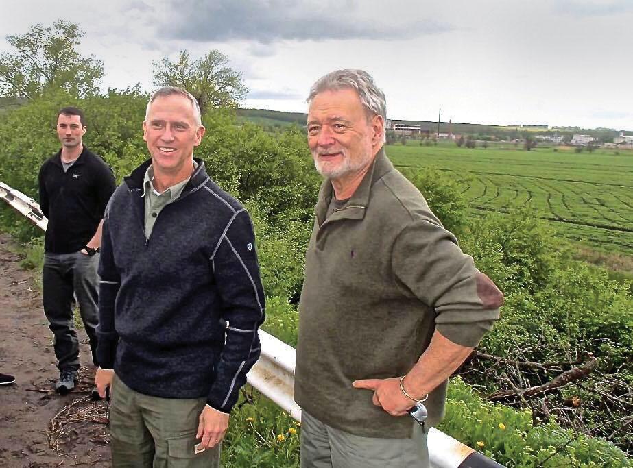 Dr. Phillip Karber (right) on the front in Ukraine with U.S. Gen. Peter Jones, showing him the battlefield between Sloviansk and Kramatorsk in Donetsk Oblast on June 17, 2016, which he witnessed during Ukraine's summer 2014 counteroffensive.