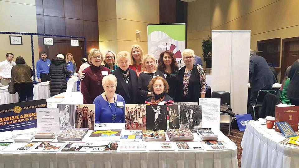 "At the ""Michigan in Perspective"" conference are (bottom row, from left): Marie Zarycky-Cherviovskiy, Catherine Kizyma, (second row): Nadia Purnell, Barbara-Melnik Carson, Vera Andrushkiw, Ksenia Rychtycka,Chrystyna Nykorak, Ann Buhay and Lidia Gulawsky."